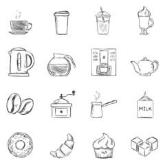 Vector Set of Sketch Coffee Icons