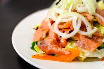 Close up of salmon salad