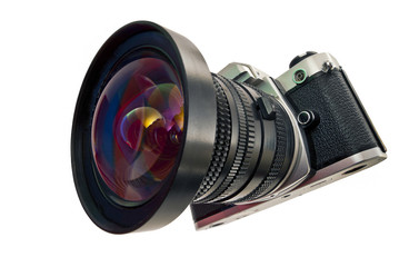 The camera lens on an isolated background.