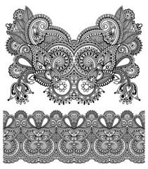 Neckline ornate floral paisley embroidery fashion design