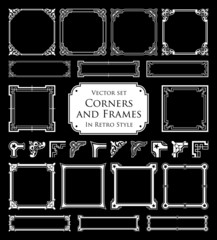 Corners and frames in retro style isolated on black background