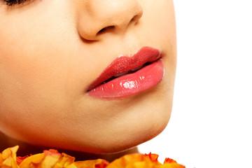 Beautiful woman's glossy lips.