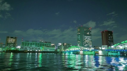 HD footage - Kachidokibashi Bridge and Tokyo nightscape.