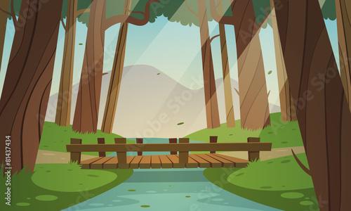 Zdjęcia na płótnie, fototapety, obrazy : Small wooden bridge in the woods