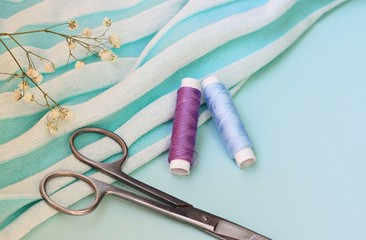 sewing kit background pastel colors