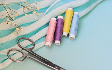 Household sewing kit craft background