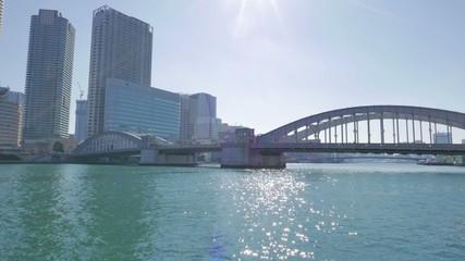 HD footage - Kachidokibashi Bridge and Tokyo dayscape.
