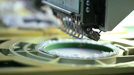 Close- up of Machine embroidery is an embroidery process