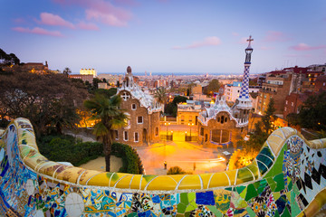 Barcelona, Park Guell after sunset