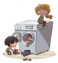 niños con lavadora