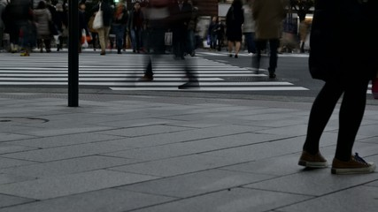 Anonymous crowd of people walking in Ginza,Tokyo.