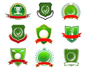 Golf emblems and logos in heraldic style
