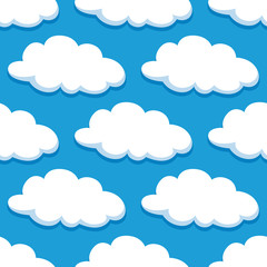 Cartoon seamless pattern with white clouds