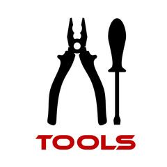 Pliers and screwdriver black silhouettes