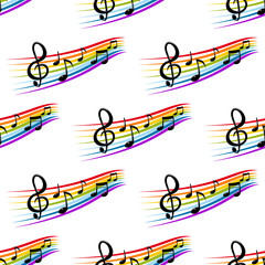 Musical staves and notes in rainbow colors seamless pattern
