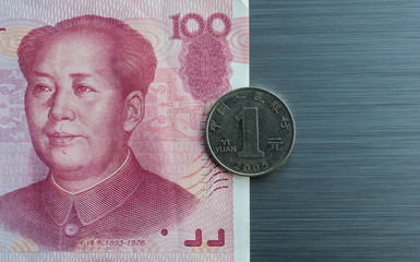 Chinese currency on brushed metal background