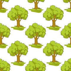 Seamless pattern with cartoon green trees
