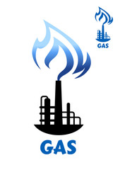 Gas production plant silhouette with blue flame