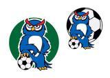 Cartoon owl character with football ball