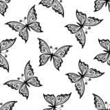 Outline flying butterflies seamless pattern