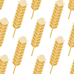 Cartoon cereal wheat or barley spikes seamless pattern