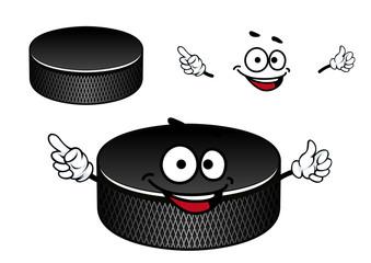 Black rubber ice hockey puck cartoon character