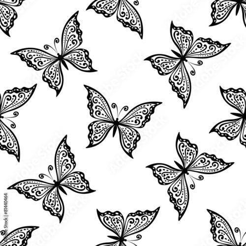 Outline flying butterflies seamless pattern - 81440464