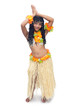 hawaii hula dancer on white background