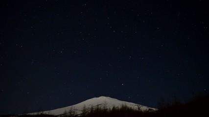 富士山五合目から夜中から明け方の空