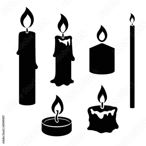Set of black and white silhouette burning candles - 81441407