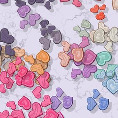 Pastel colored hearts randomly scattered on patterned background
