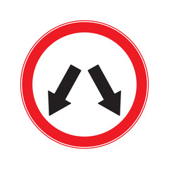 Keep Left Sign or Keep Right Sign