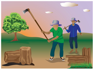 the man chopping firewood vector design