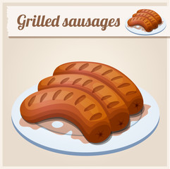 Grilled sausages. Detailed Vector Icon