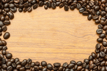 Coffee bean on wooden