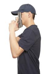 Despair man with gun