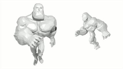 3D COMICS ( RENDER LOW POLYGON ) RUNNING BIG MAN