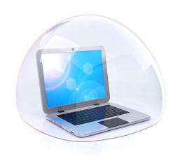 Laptop in transparent bubble