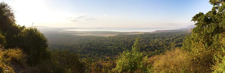 Panorama of Lake Manyara in Africa