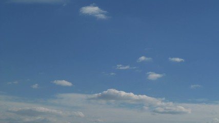 Clouds timelapse. Spring sky with running clouds