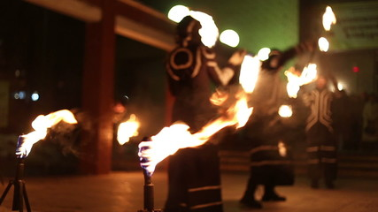 Artists show presentation with fire, fireshow