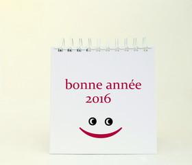 """""""bonne année 2016""""smiley rigolo sur calendrier"""
