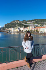 Girl with Ventimiglia on the background