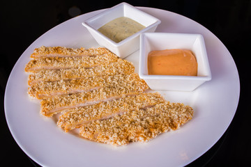 Fish fillets with sauces