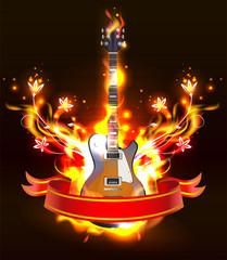 Guitar in fire flames