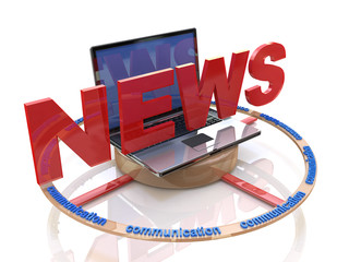 Media. Text NEWS. Laptop with the word news. Online news