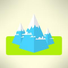 Mountains scene in a modern geometrical design. Vector