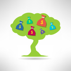 Green tree with money bags. Prosperity and treasure concept