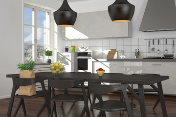 modern open plan kitchen - shot 3