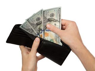 Hands taking money from open wallet